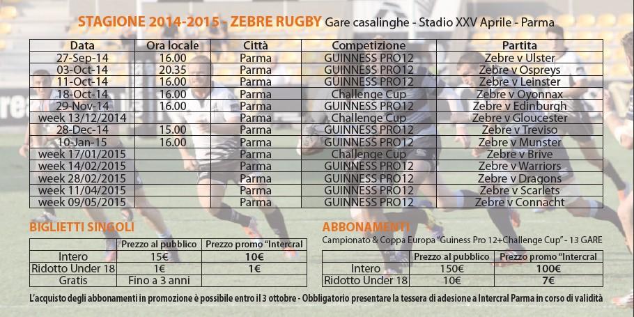 Zebre Rugby Calendario.Zebre Rugby Calendario Stagione 2014 15 Intercral Parma