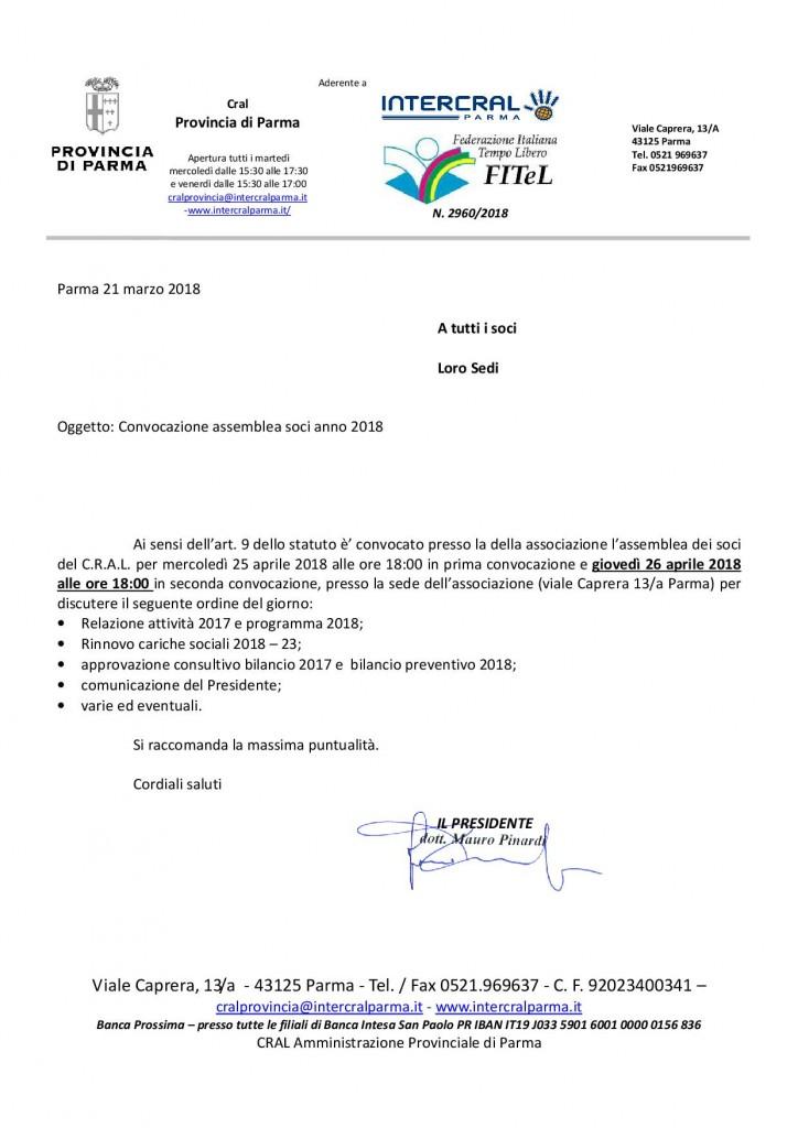 convocazione assemblea CRAL PROV 26 aprile 2018