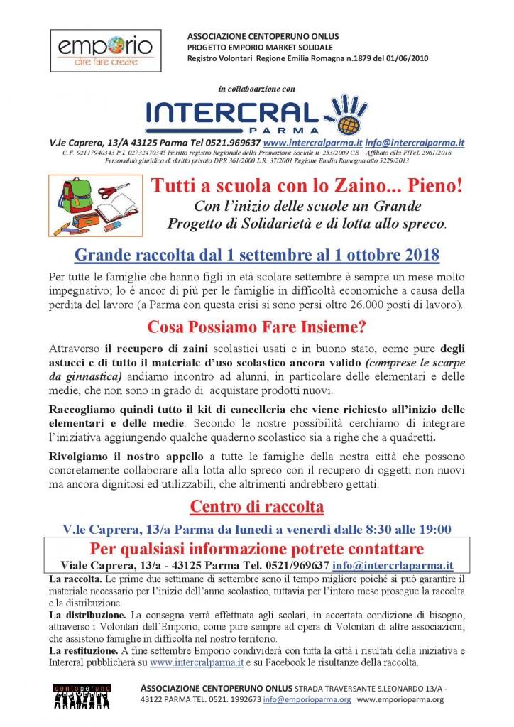 TUTTI A SCUOLA CON LO ZAINO2018 INTERCRAL