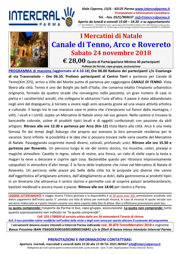 CANALE TENNO- ARCO - ROVERETO Mercatini di Natale 24 novembre 2018