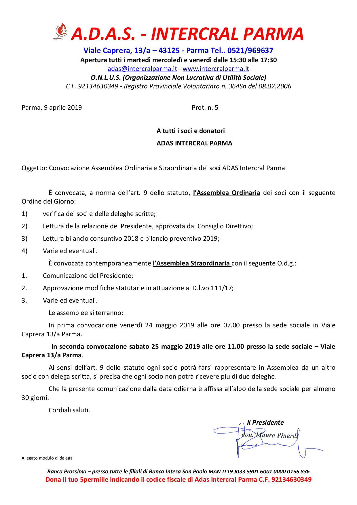 convocazione ordinaria e straordinaria Adas mag191