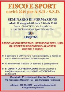 SEMINARIO FISCO E SPORT 18 maggio19