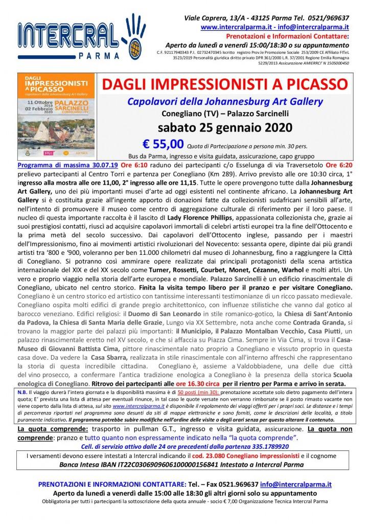 Impressionisti Picasso Conegliano 25 gennaio 2020