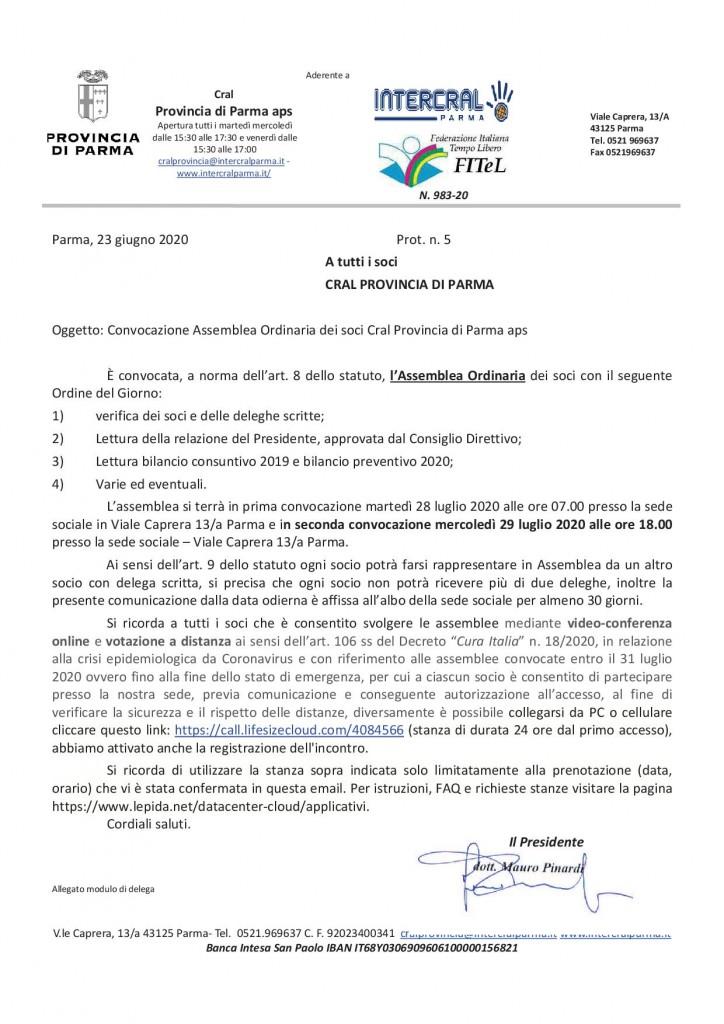 convocazione assemblea CRAL PROV 20201