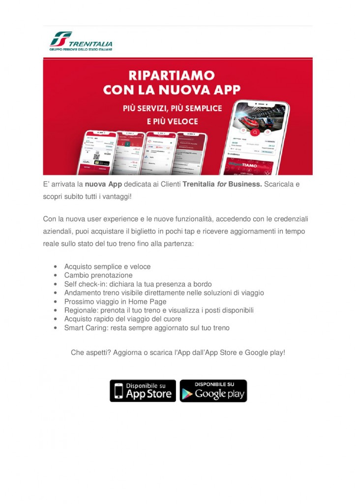 Trenitalia for Business newsletter luglio 20201