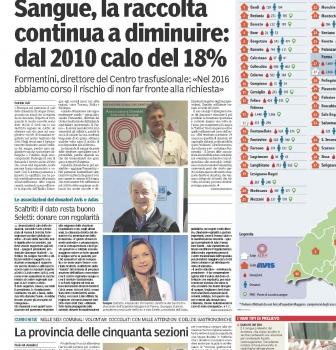 2016 Donazioni in calo – dati provincia