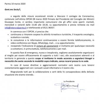 Comunicazione ai soci: CORONAVIRUS