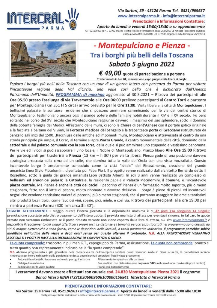 Montepulciano Pienza 5 giugno2021