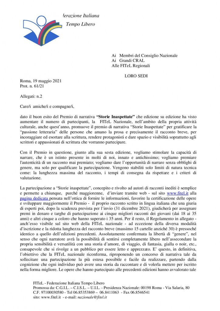 circolare Premio di Narrativa VI Edizione FITEL 20211