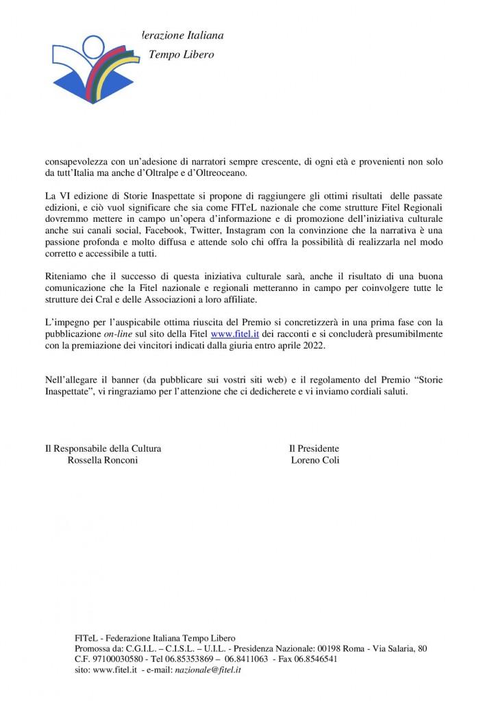 circolare Premio di Narrativa VI Edizione FITEL 20212